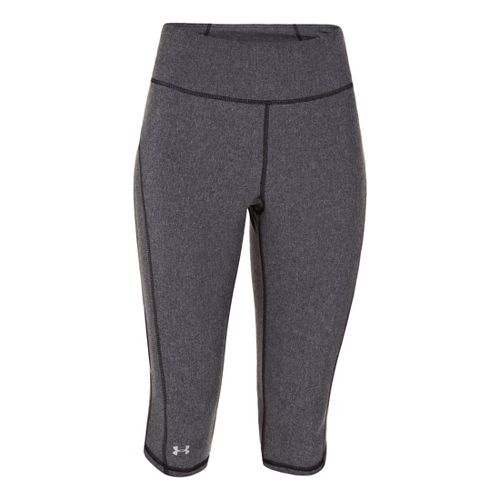 Womens Under Armour UA Stunner Capri Tights - Black Heather/Reflective XL