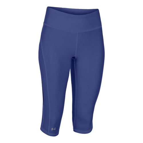Womens Under Armour UA Stunner Capri Tights - Caspian Heather/Reflective XS