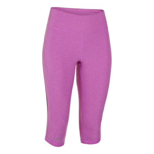 Womens Under Armour UA Stunner Capri Tights - Exotic Bloom Heather/Reflective M