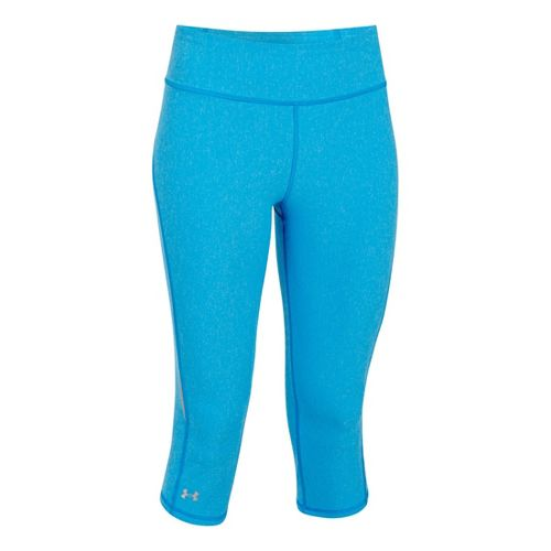 Womens Under Armour UA Stunner Capri Tights - Electric Blue Heather/Reflective M