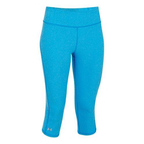 Womens Under Armour UA Stunner Capri Tights - Electric Blue Heather/Reflective XL