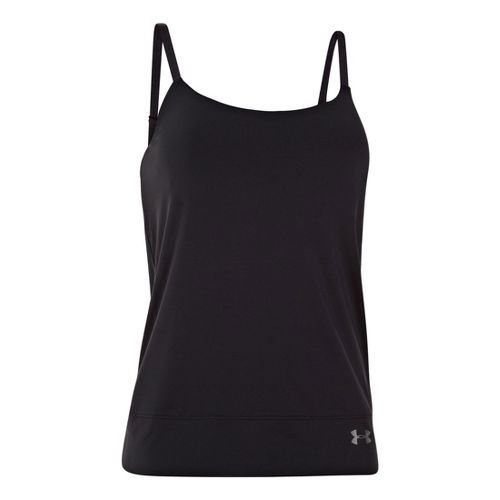 Womens Under Armour UA Essential Banded Tank Sport Top Bras - Black XL
