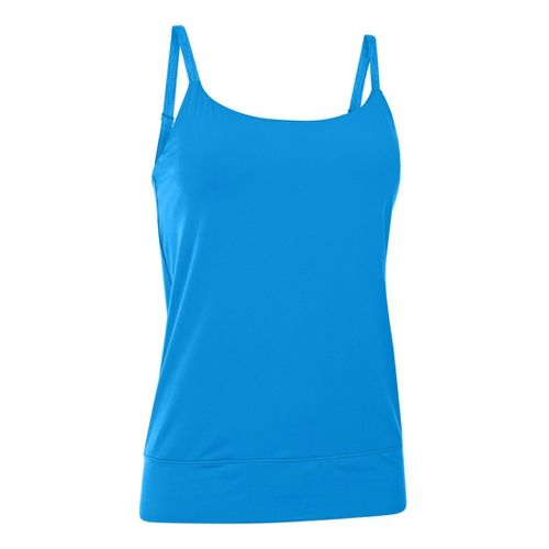 Womens Under Armour UA Essential Banded Tank Sport Top Bras - Electric Blue M