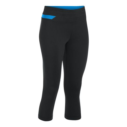 Womens Under Armour UA Perfect Balance Capri Tights - Black/Electric Blue XS