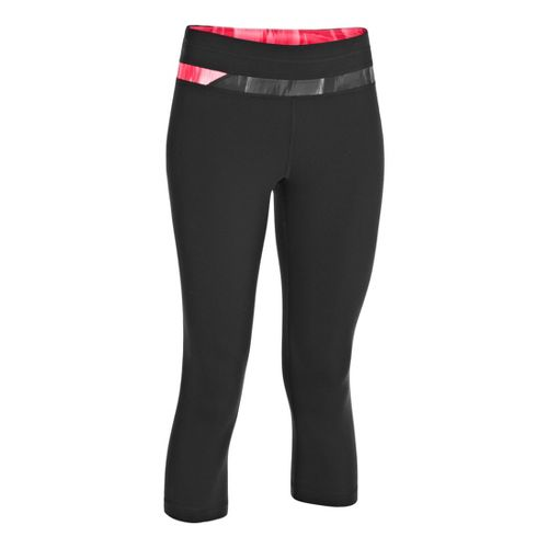 Womens Under Armour UA Perfect Balance Capri Tights - Black/Metallic Pewter XS