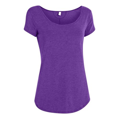 Womens Under Armour UA Studio Cross-Town T Short Sleeve Technical Tops - Pride S