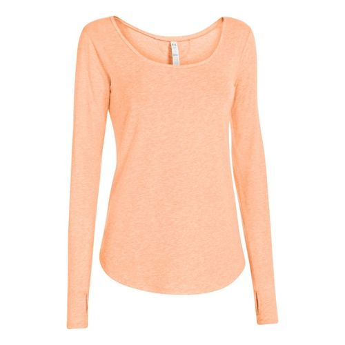 Womens Under Armour UA Studio Cross-Town Long Sleeve No Zip Technical Tops - After Glow ...