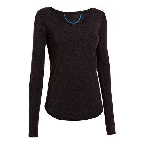 Womens Under Armour UA Studio Cross-Town Long Sleeve No Zip Technical Tops - Black L ...