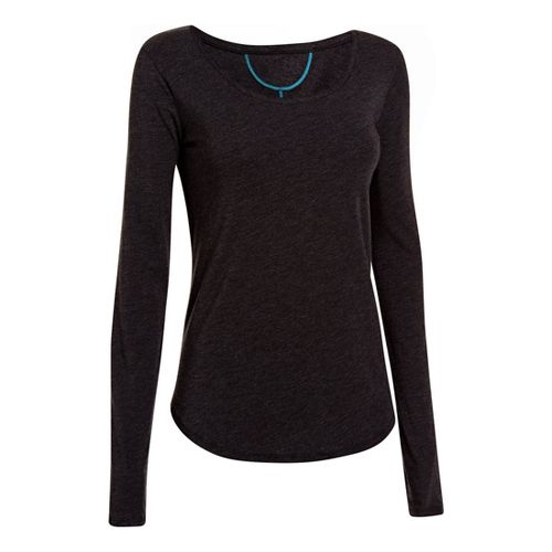 Womens Under Armour UA Studio Cross-Town Long Sleeve No Zip Technical Tops - Black S ...