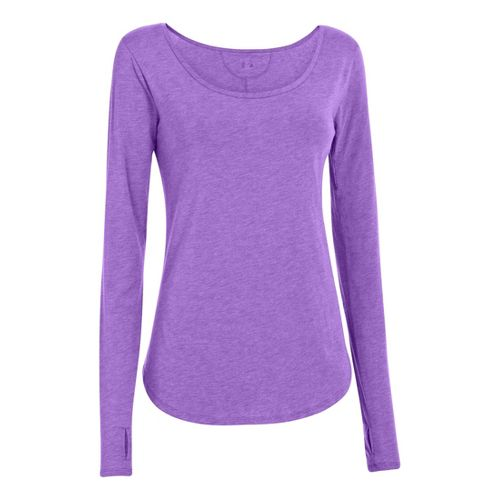 Womens Under Armour UA Studio Cross-Town Long Sleeve No Zip Technical Tops - Pride XS ...