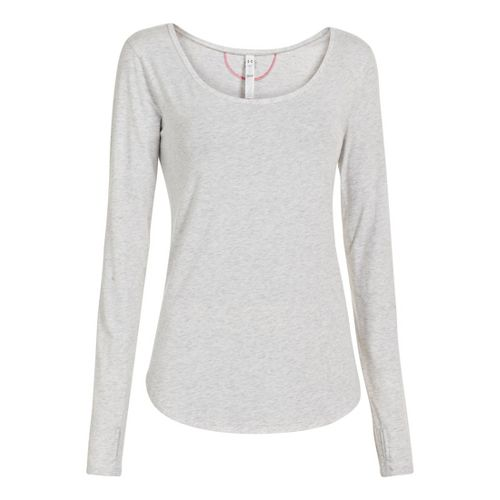 Womens Under Armour UA Studio Cross-Town Long Sleeve No Zip Technical Tops - Silver Heather ...