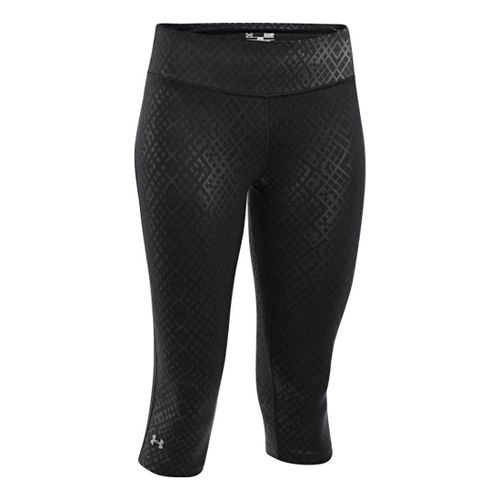Womens Under Armour Heatgear Sonic Embossed Capri Tights - Black XS
