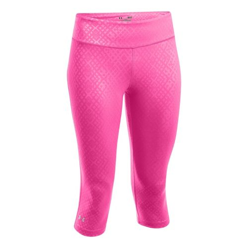 Womens Under Armour Heatgear Sonic Embossed Capri Tights - Chaos M