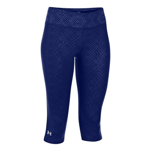 Womens Under Armour Heatgear Sonic Embossed Capri Tights - Caspian L