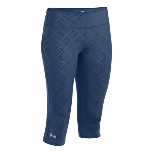 Womens Under Armour Heatgear Sonic Embossed Capri Tights - Indigo M
