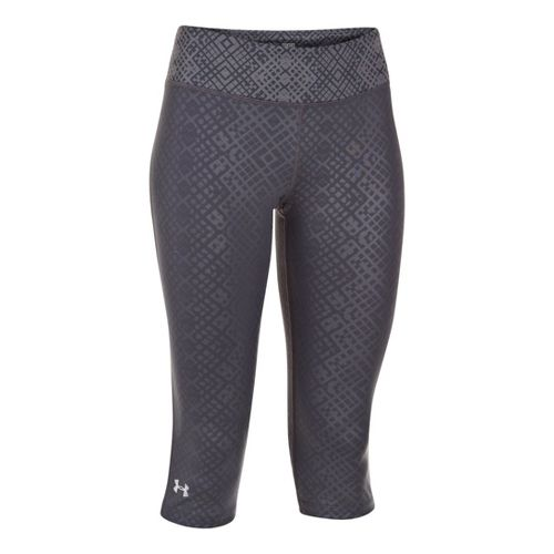 Womens Under Armour Heatgear Sonic Embossed Capri Tights - Lead M