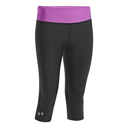 Womens Under Armour Heatgear Sonic Capri Tights - Black/Exotic Bloom XS
