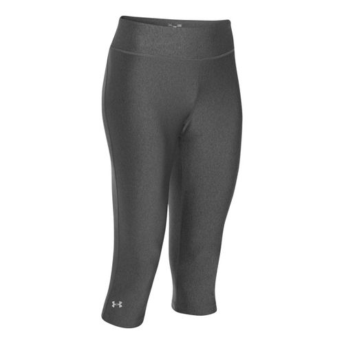 Womens Under Armour Heatgear Sonic Capri Tights - Carbon Heather/Carbon Heather M