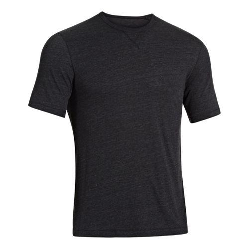 Mens Under Armour Charged Cotton Tri-Blend Crew T Short Sleeve Technical Tops - Black M ...