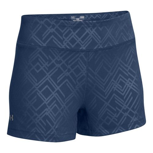 Womens Under Armour Heatgear Sonic Printed Shorty Fitted Shorts - Indigo XS