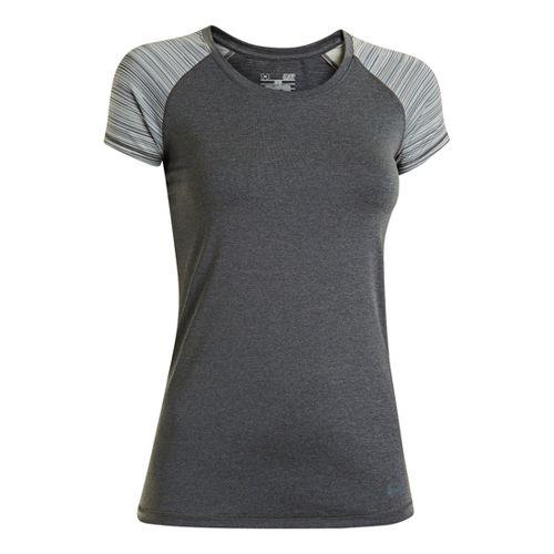 Womens Under Armour Heatgear Sonic Printed Raglan Short Sleeve Technical Tops - Carbon Heather ...