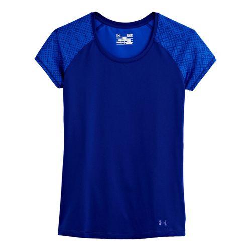 Womens Under Armour Heatgear Sonic Printed Raglan Short Sleeve Technical Tops - Caspian L