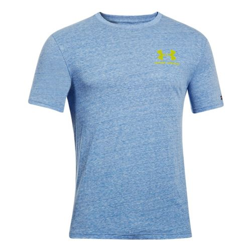 Mens Under Armour Legacy Logo T Short Sleeve Technical Tops - Superior Blue S