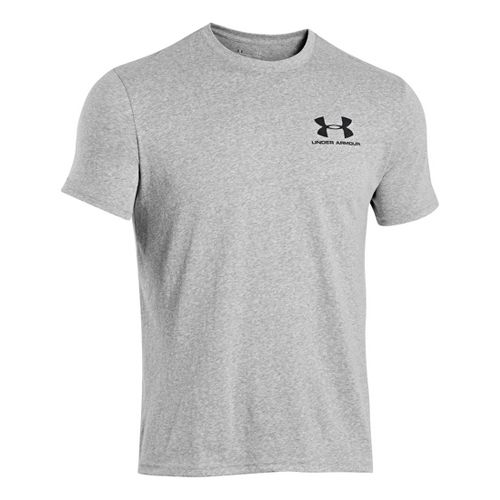 Mens Under Armour Legacy Logo T Short Sleeve Technical Tops - Steel S