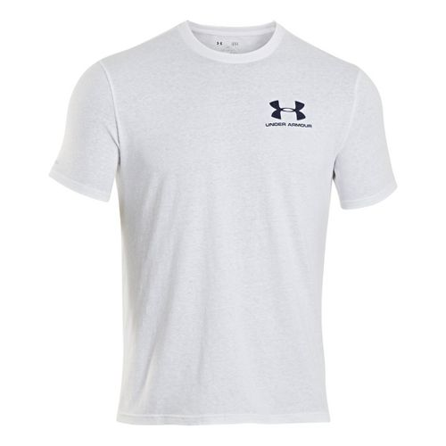 Mens Under Armour Legacy Logo T Short Sleeve Technical Tops - White XXL