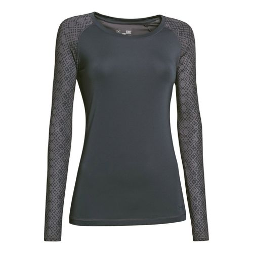 Womens Under Armour Heatgear Sonic Printed Raglan Long Sleeve No Zip Technical Tops - Lead ...