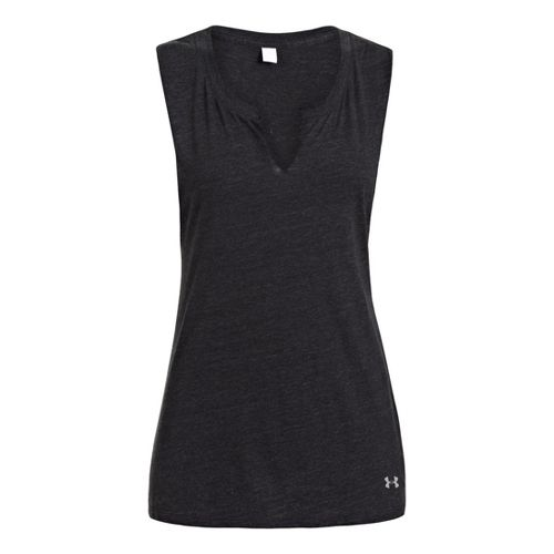 Womens Under Armour UA Charged Cotton Legacy Crew Sleeveless Technical Tops - Black XS