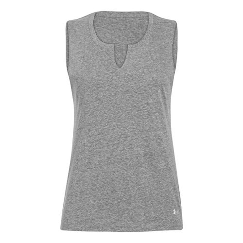 Womens Under Armour UA Charged Cotton Legacy Crew Sleeveless Technical Tops - Charcoal L
