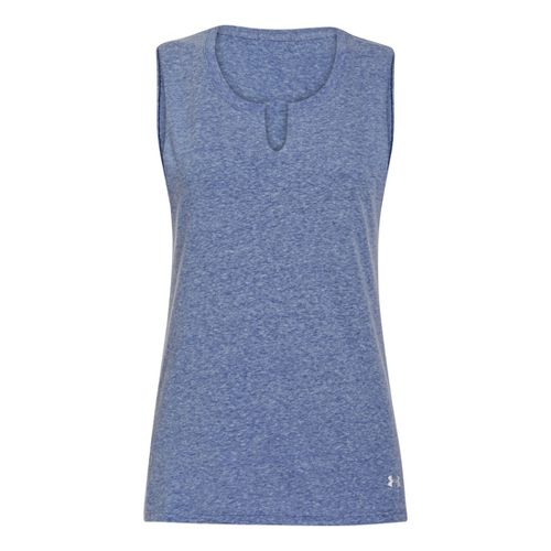 Womens Under Armour UA Charged Cotton Legacy Crew Sleeveless Technical Tops - Caspian L