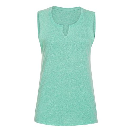 Womens Under Armour UA Charged Cotton Legacy Crew Sleeveless Technical Tops - Emerald Lake M ...