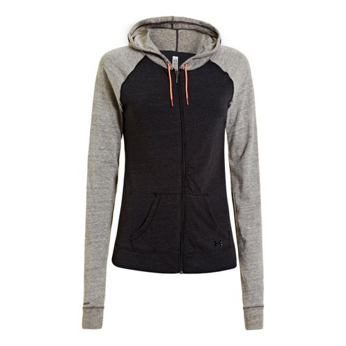 Womens Under Armour UA Charged Cotton Legacy Full Zip Hoody Warm-Up Hooded Jackets - Black ...