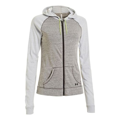 Womens Under Armour UA Charged Cotton Legacy Full Zip Hoody Warm-Up Hooded Jackets - Charcoal ...