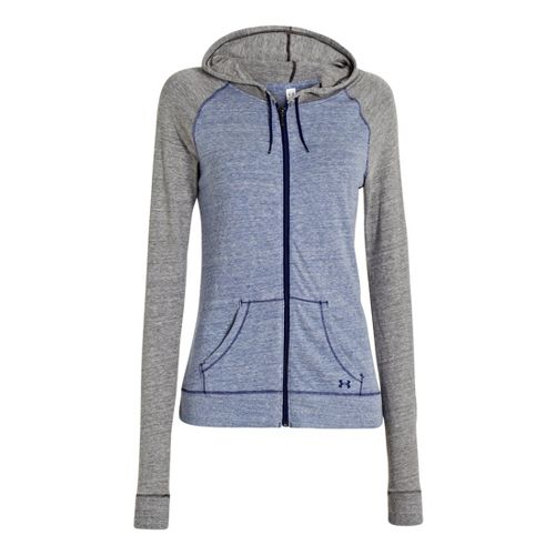 Womens Under Armour UA Charged Cotton Legacy Full Zip Hoody Warm-Up Hooded Jackets - Caspian ...
