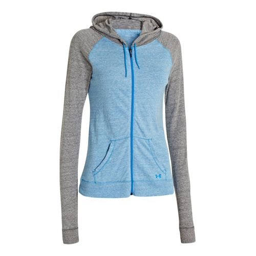 Womens Under Armour UA Charged Cotton Legacy Full Zip Hoody Warm-Up Hooded Jackets - Electric ...