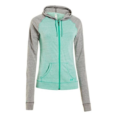 Womens Under Armour UA Charged Cotton Legacy Full Zip Hoody Warm-Up Hooded Jackets - Emerald ...