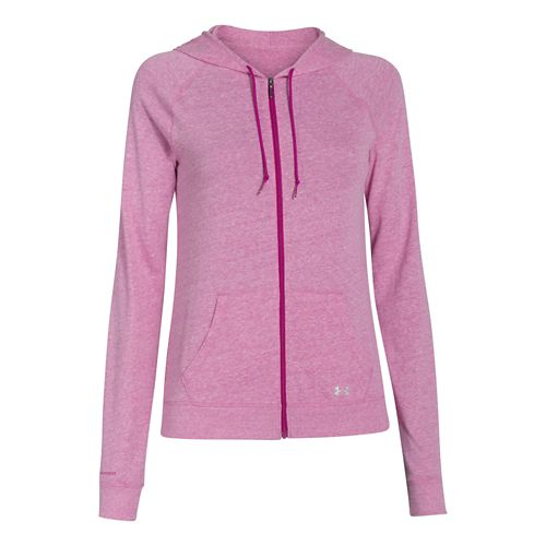 Womens Under Armour UA Charged Cotton Legacy Full Zip Hoody Warm-Up Hooded Jackets - Magenta ...
