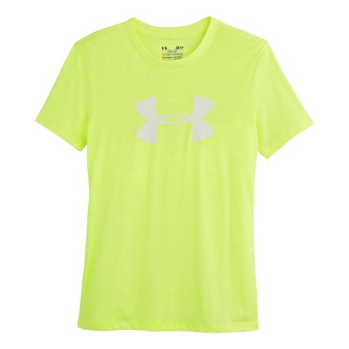 Womens Under Armour UA Charged Cotton Tri-Blend Big Logo Crew Short Sleeve Technical Tops - ...