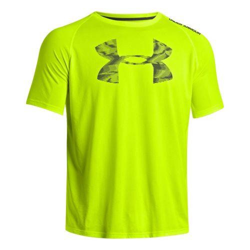 Mens Under Armour Reverb Logo T Short Sleeve Technical Tops - High Vis Yellow XXL ...