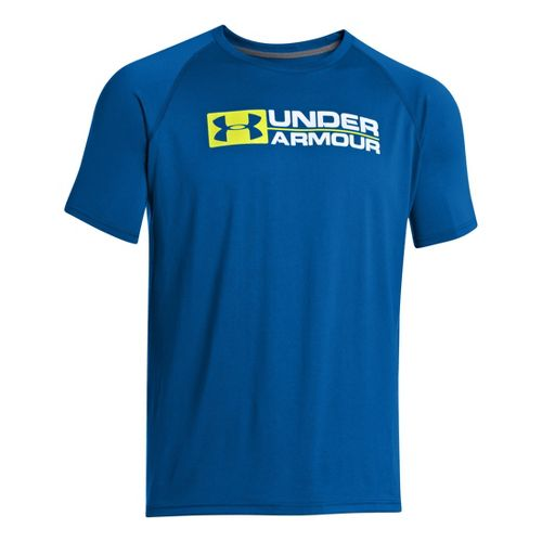 Mens Under Armour Lockdown T Short Sleeve Technical Tops - Superior Blue L