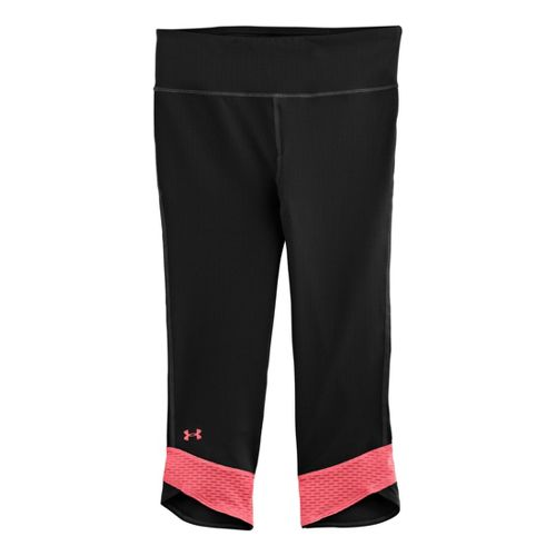 Womens Under Armour UA Fly-By Compression Capri Tights - Black/Brilliance XS