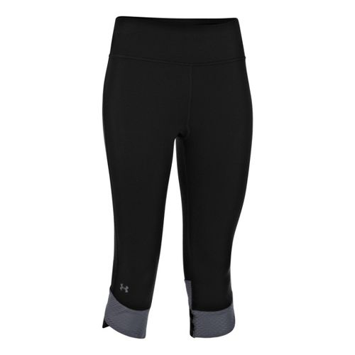 Womens Under Armour UA Fly-By Compression Capri Tights - Black/Lead XS