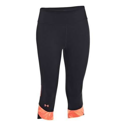 Womens Under Armour UA Fly-By Compression Capri Tights - Black/Neo Pulse XL