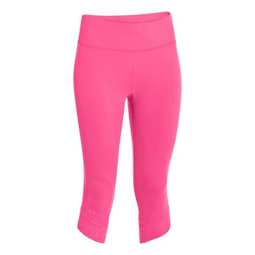 Womens Under Armour UA Fly-By Compression Capri Tights - Cerise/Cerise M
