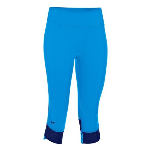 Womens Under Armour UA Fly-By Compression Capri Tights - Electric Blue/Caspian S