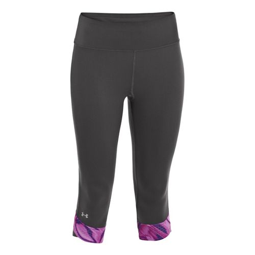 Womens Under Armour UA Fly-By Compression Capri Tights - Lead/Exotic Bloom M