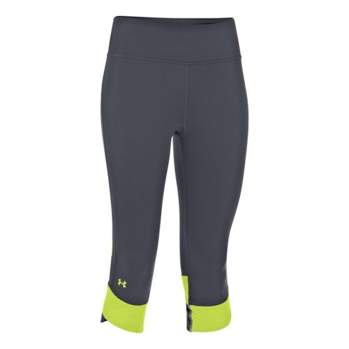 Womens Under Armour UA Fly-By Compression Capri Tights - Lead/X-Ray M